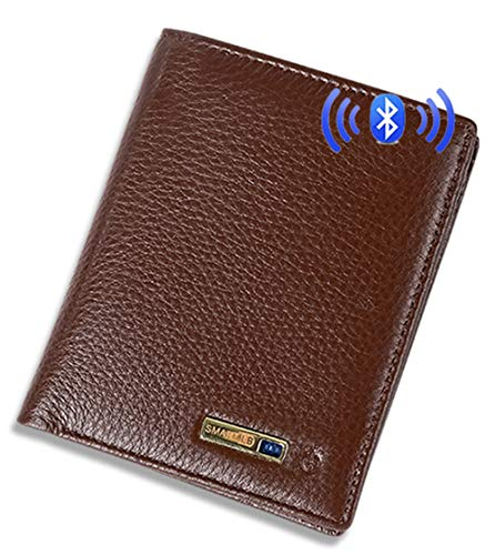 Smart LB Smart Anti-Lost Wallet with Alarm, Bluetooth, Position Record (via Phone GPS), Bifold Cowhide Leather Purse (Brown,Vertical)