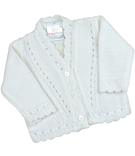 (BabyPrem Preemie Baby Cardigan Jacket Boy Girl Buttons Soft Knitted 5-8lb White)