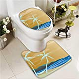 VROSELV 2 Piece Bathroom Contour Rugs Map of Hawaiis with Capital Honolulu Borders Non Slip Comfortable Snd Soft