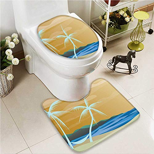 VROSELV 2 Piece Bathroom Contour Rugs Map of Hawaiis with Capital Honolulu Borders Non Slip Comfortable Snd Soft by VROSELV