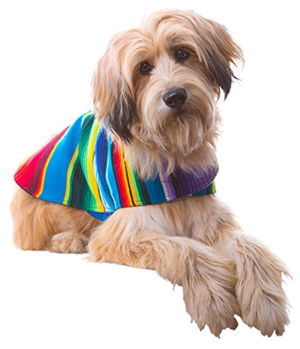 Dog Clothes - Handmade Dog Poncho from Authentic Mexican Blanket by Baja Ponchos (No Fringe, Large)