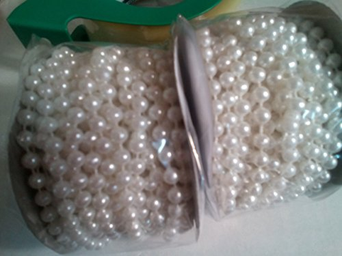 Pearl Trim (6mm Faux Pearl Plastic Beads on a String Roll -white, 2 rolls, 12 yards per roll)