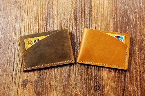 Hand stitch Genuine brown leather card holder / men slim card wallet / Personalised leather credit card (Slim Stitch)