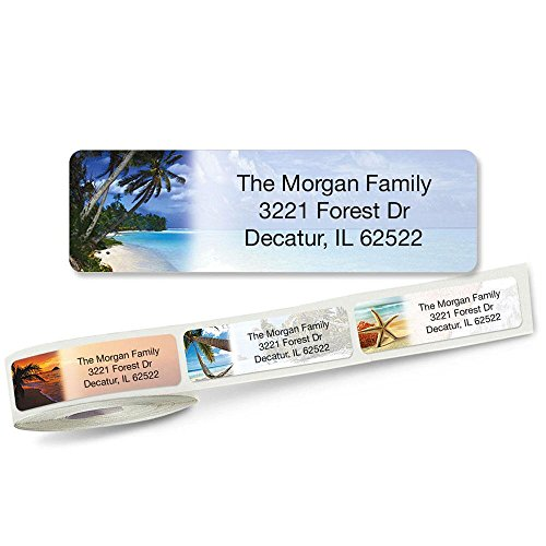 Rolled Address Labels with Clear Dispenser by Colorful Images (5 Designs) Roll of 250 (5 Designs Rolled Address Labels)