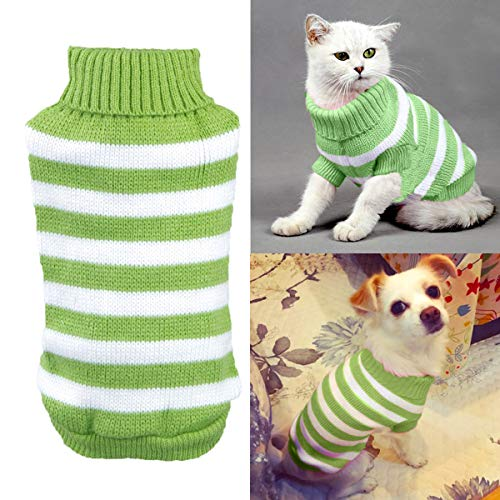 - Aiwind Warm Striped Cat Dog Sweater Soft Fall Pullover Winter Pet Clothes Braid Plait Turtleneck Knitwear for Kitten Cat Dog Puppy (L, Green and White)