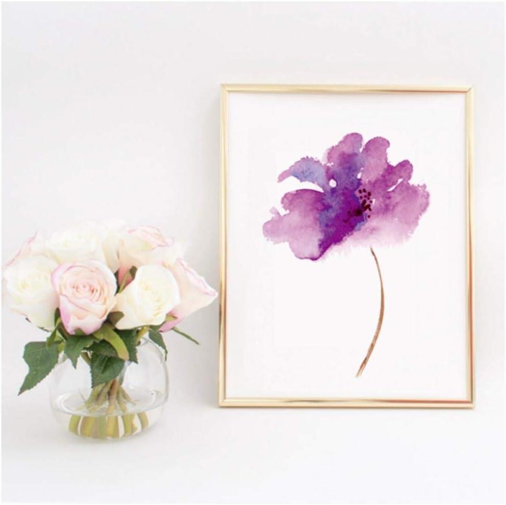 Ywsen Púrpura Lila Flor Impresión en Lienzo Art Poster, Acuarela Lila Flor Lienzo Pintura Cuadro de la Pared para la Decoración del Hogar 60x80 cm Sin Marco