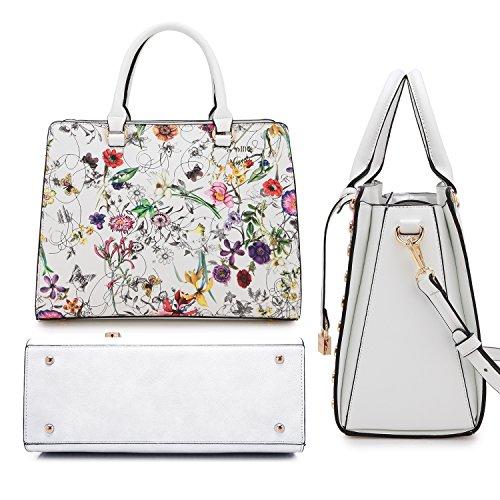 Wallet Wristlet white Handbag Bag Fashion Leather Floral Satchel Women Shoulder Set 7579 Purse xp08BRgq