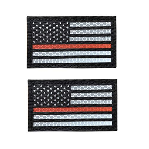 Solas Reflective Thin Orange Line US USA American Flag Patch for Search and Rescue with Hook and Loop