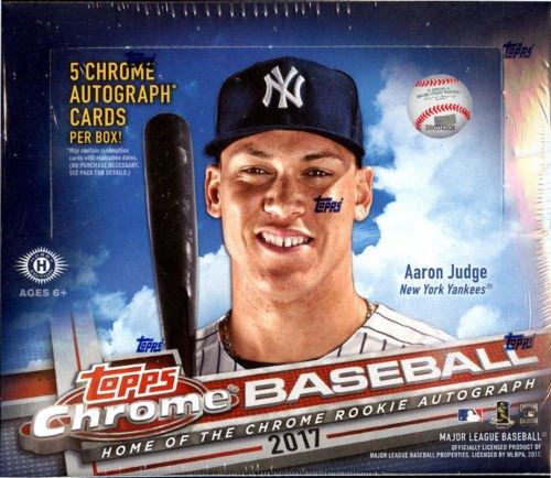 2017 Topps Chrome Baseball Jumbo Box (12 Packs/Box,12 Cards/Pack, 5 Autographs)