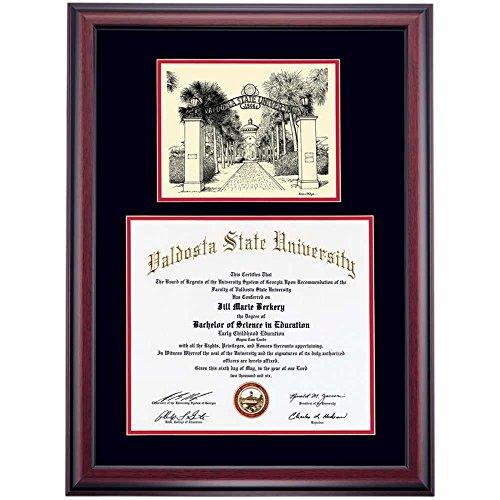 Valdosta State Blazers Diploma Frame Black Red Matting Pen & Ink by Campus Linens