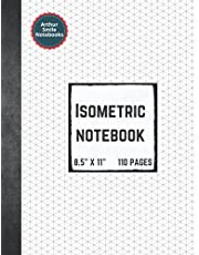 """Isometric Notebook: Isometric Graph Paper Notebook for 3D Design and Geometry, 8.5"""" x 11"""" - 110 pages   Arthur Smile Notebooks"""