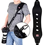 Coolway Professional Rapid Action Camera Neck Strap with Quick Release Clip w/ Safety Function w/ Quick Lock System w/ up to 15kg (Black)