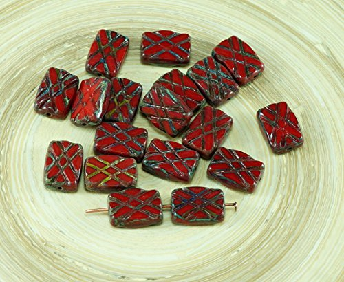 6pcs Picasso Red Table Cut Window Rectangle Czech Glass Beads 12mm x 8mm
