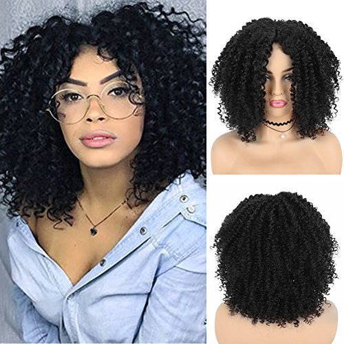Search : SCENTW Short Afro Kinky Curly Synthetic Wigs For Black and african american Women Heat Resistant Full Party Wig with Free Cap(Black)