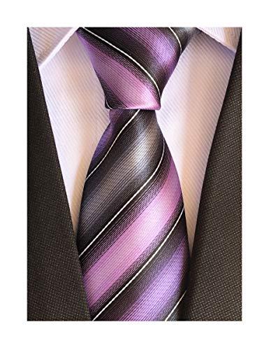 (Men's Violet Purple Grey Ties Striped Patterned Wedding Silk Neckties Best Gift)