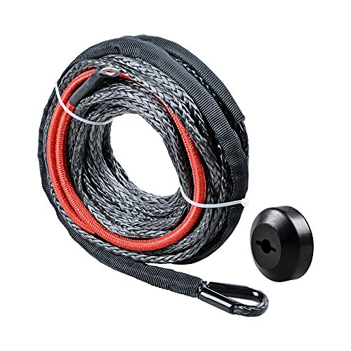 Black Synthetic Winch Line Cable Rope Heat Guard + Rubber Stopper Kit for Jeep SUV ATV UTV KFI (40