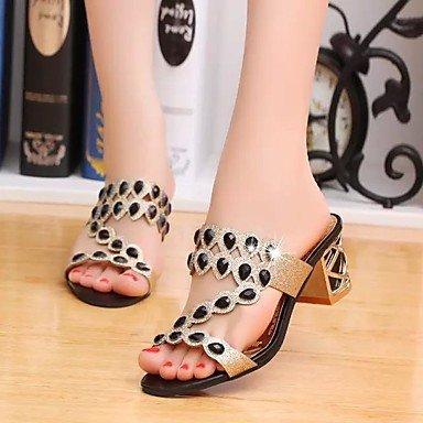 Zapatos Verano Casual amp;shoes PU mejor para Dorado eu38 El Azul 5 madre y Mujer mujer para uk5 SHUAI us7 Negro cn38 5 regalo Sandalias Confort P6znZwWx