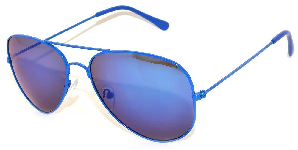 Aviator Style Mirrored Lens Sunglasses Blue Metal Frame Spring Hinge Fashion