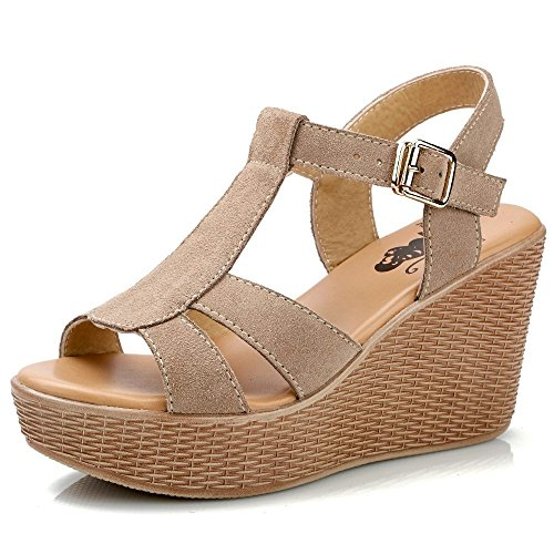 Xing Lin Sandalias De Cuero Pendiente Con Sandalias Mujer Pastel De Verano Calzado Casual Zapatos Con Plataforma Tacones Sandalias De Roma Beige