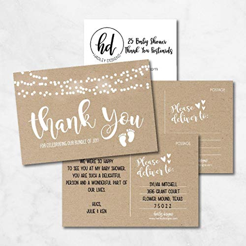 25 Girl or Boy Rustic Baby Shower Thank You Note Card Bulk Set, Blank Cute Kraft Gender Reveal Neutral Sprinkle Postcards, No Envelope Needed For Party Gift Personalize Printable Cardstock Paper Photo #5