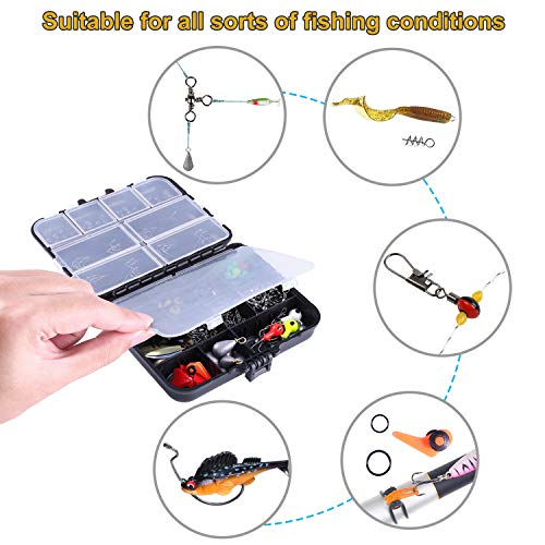 TOPFORT 187/230pcs Fishing Accessories Kit, Including Jig Hooks, Bullet Bass Casting Sinker Weights, Fishing Swivels Snaps, Sinker Slides, Fishing Set with Tackle Box…