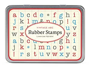 Cavallini Mini Lowercase Alphabet 30 Assorted Wooden Rubber Stamps Packaged in a Tin