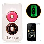LG K5 Luminous Case [With Free Screen Protector],CaseHome Creative Unique Colorful Pattern Printed Design Fluorescent Effect Night Glow In The Dark Ultra Slim Thin Transparent Clear Soft Flexible Rubber Bumper Jelly Silicone Gel TPU Protective Case Cover Skin for LG K5-Colorful Doughnut - more-bags