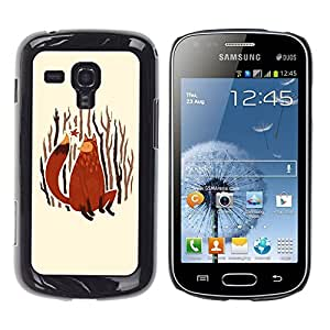 Qstar Arte & diseño plástico duro Fundas Cover Cubre Hard Case Cover para Samsung Galaxy S Duos / S7562 ( Fox Art Painting Forest Nature Autumn Leaves)