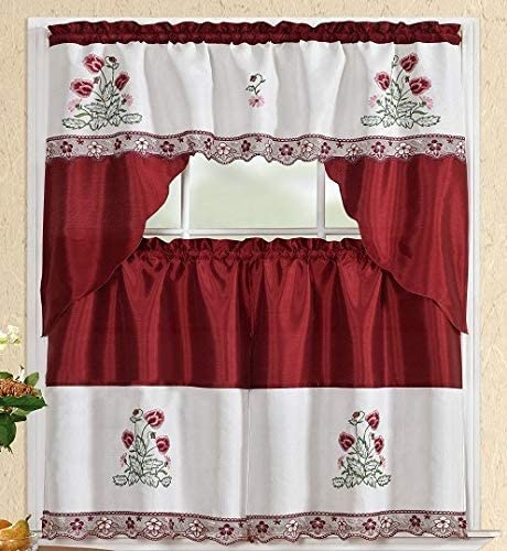 Sapphire Home 3 Piece Kitchen Curtain Linen Set 2 Tiers 30 W Total Width 60 x 36 L and 1 Swag Valance 60 W x 36 L, Embroidery Burgundy Wine Floral Kitchen Curtain D cor Linen, KC 0165
