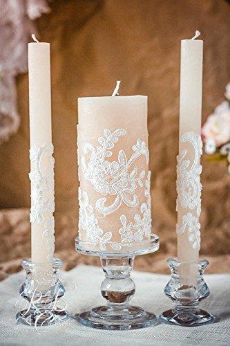 Lace Unity Candle Set Rustic Wedding Unity Candle Vintage Unity Candles Vintage Wedding Ideas Country Wedding Unity Candle Holder 3pcs