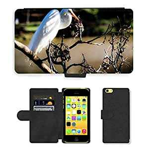 Hot Style Cell Phone Card Slot PU Leather Wallet Case // M00108334 Heron Bird Birdie Nature Animals // Apple iPhone 5C