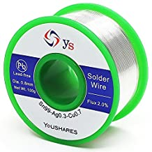 YOUSHARES 0.6mm Lead Free Solder Wire with Rosin Core for Electrical Repair Soldering (Sn99/Ag0.3/Cu0.7, flux 2.0%, 0.22lb. ) (Soldering Wire)