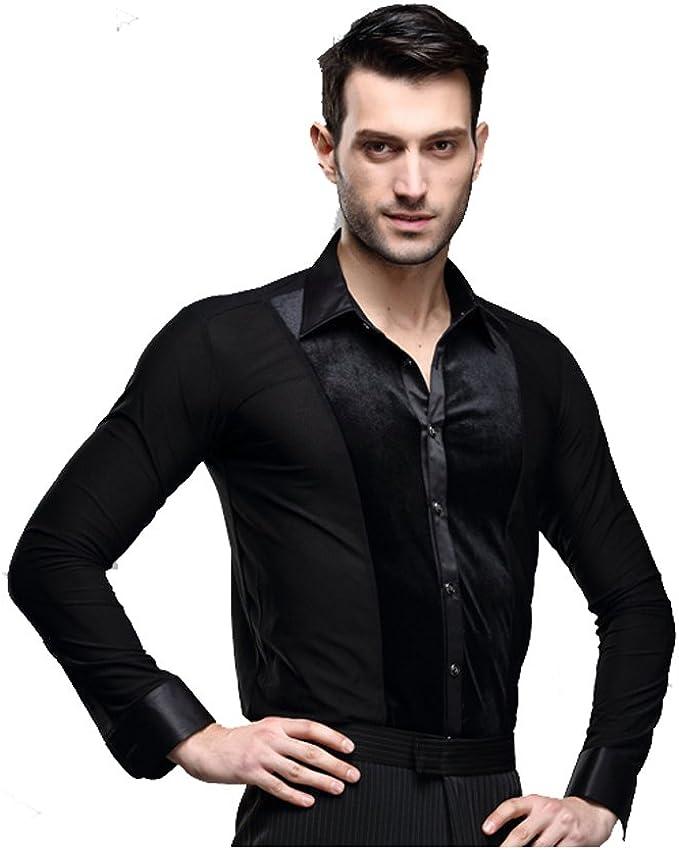 YILINFEIER - Camisa de Baile para Hombre de Manga Larga de Terciopelo Negro Latino Chacha Rumba Samba - Negro - Large: Amazon.es: Ropa y accesorios