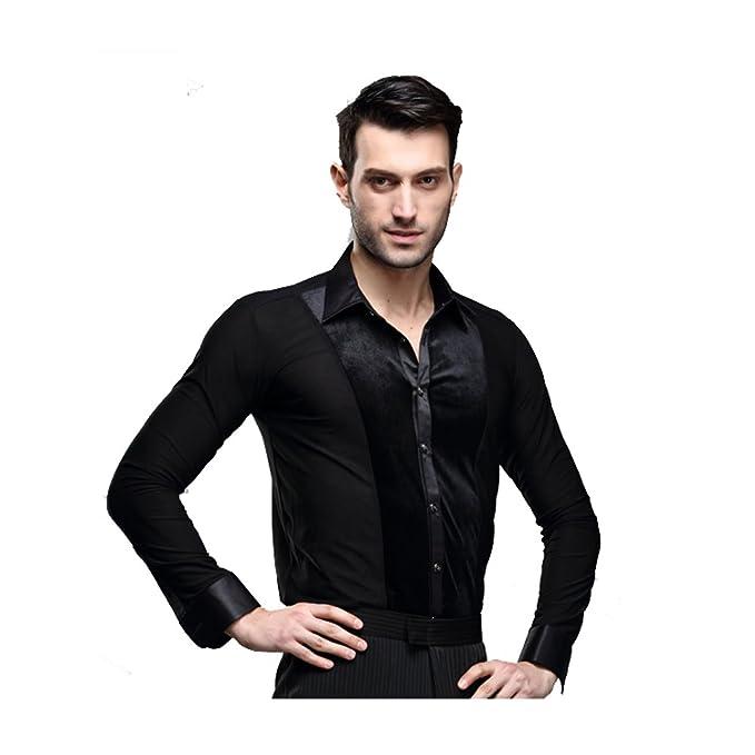 Amazon.com: Hombres mangas largas Latina de terciopelo negro ...