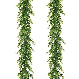 Artiflr Artificial Vines Faux Eucalyptus Garland, 2 Pack Fake Eucalyptus Greenery Garland Hanging Vine Plant, 6 Feet/pcs Eucalyptus Leaves for Wedding Backdrop Arch Wall Table Festival Party Decor