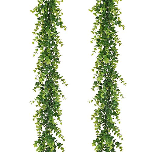 Artiflr Artificial Vines Faux Eucalyptus Garland, 2 Pack Fake Eucalyptus Greenery Garland Hanging Vine Plant, 6 Feet/pcs Eucalyptus Leaves for Wedding Backdrop Arch Wall Table Festival Party ()