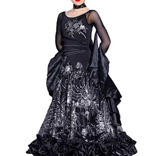 Con Per Black Paillettes Dancewear Valzer Tulle Balli l Wqwlf Moderno Lussuoso Vestiti Grande performance Competizione Sala Swing S Da Donna Ricamato xxpPnwX