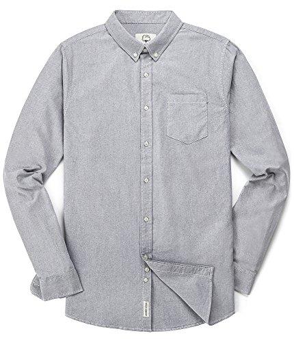 Men's Long Sleeve Oxford Regular Fit Button Down Casual Shirt Light Gray...
