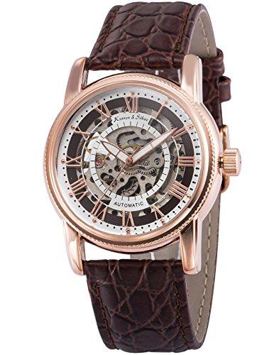 KS Men's KS252 Analog Automatic Mechanical Skeleton Dial Leather Band Wrist Watch