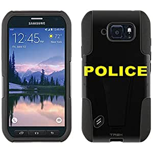 Samsung Galaxy S6 Active Hybrid Case Police on Black 2 Piece Style Silicone Case Cover with Stand for Galaxy S6 Active