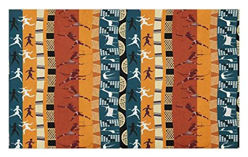 Lunarable Tribal Doormat, Classic African Hunting Motifs with Minimalist Human Animal Figures Giraffe Deer, Decorative Polyester Floor Mat with Non-Skid Backing, 30 W X 18 L Inches, Multicolor