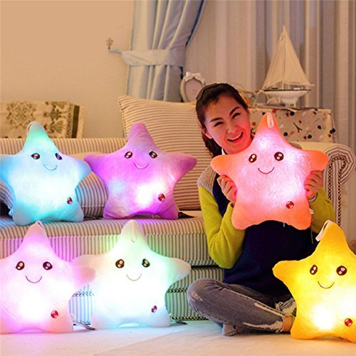 Star Luminous Pillow Glow in the Drak Stuffed Cartoon Soft Plush Kids Birthday/Xmas Gift Star Smile Led Light Pillow Kids Toy (1 Pcs Random Color) by mercury (Fossfill Standard Pillow)