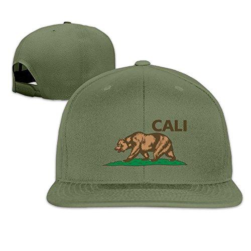 (Nquqiyilu Men's Life Bear In Cali California Fashion Football ForestGreen Hats Adjustable Snapback)