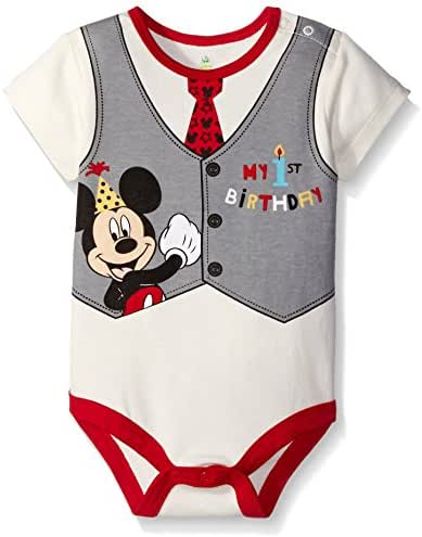 Disney Baby Boys' Mickey My First Birthday Creeper