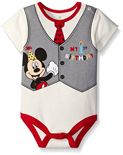 Disney Baby-Boys Mickey My First Birthday Creeper, Off White, 12 Months