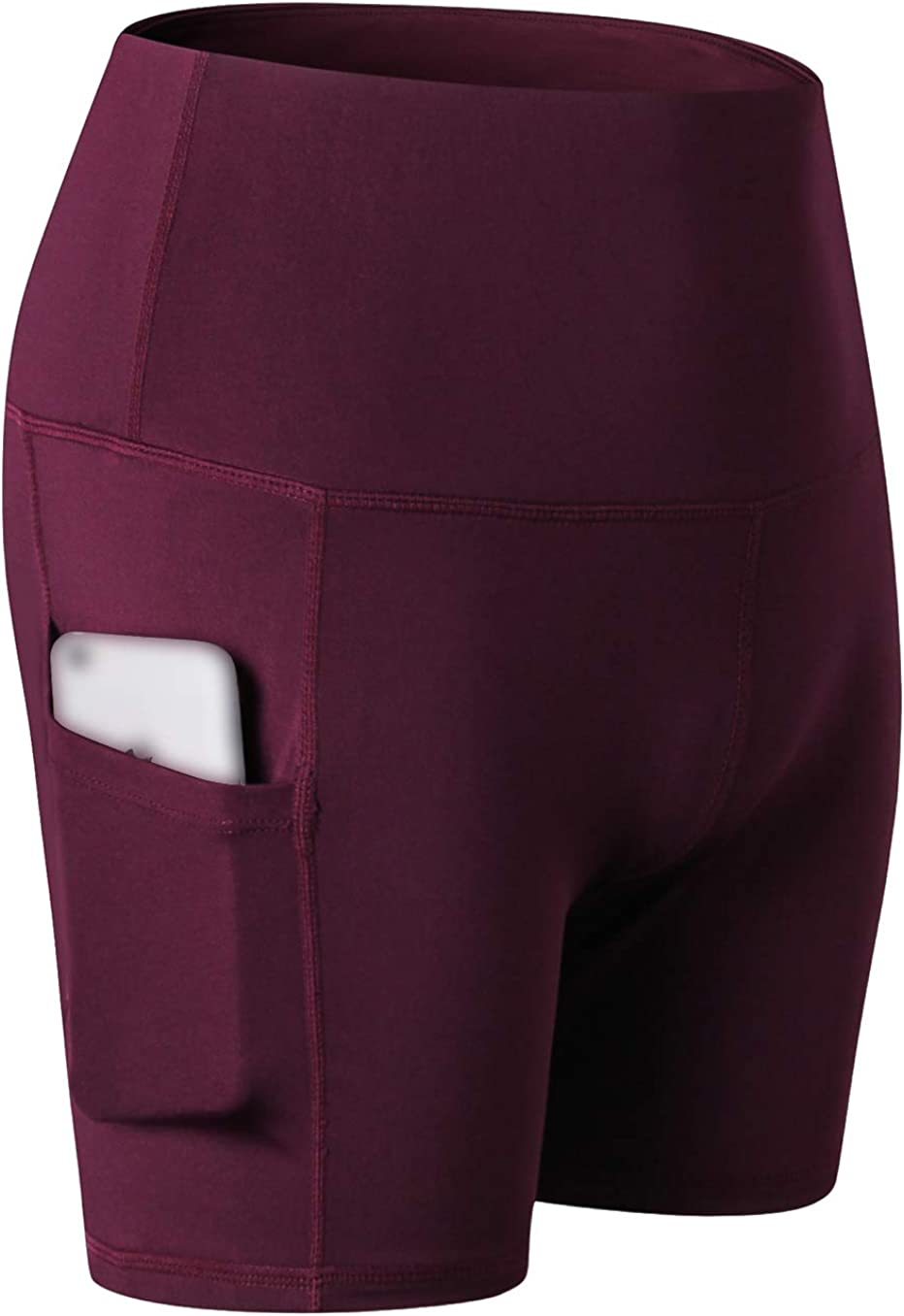 "DZRZVD Women's 3"" High Waist Workout Yoga Running Compression Exercise Shorts Side Pockets 2049-Wine-M"