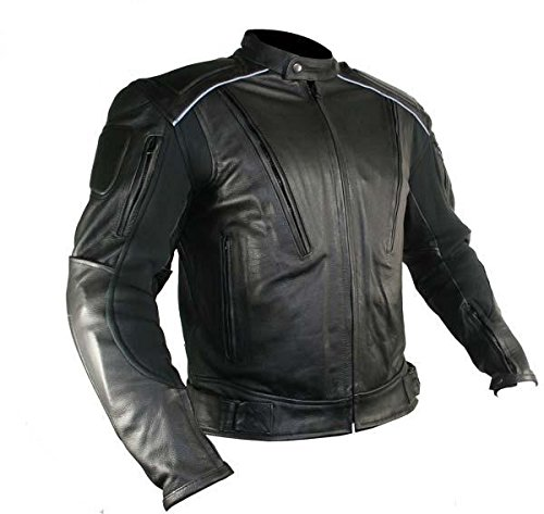Xelement B9119 Mens Black Armored Leather Motorcycle Jacket - (Factory Leather Jacket)