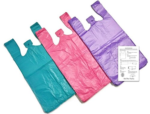 Bright Colors 10x6x21 T-shirt Bags  (150 Pack) with Crafting Insert - Reusable Retail Shopping (Colored Plastic Bags)