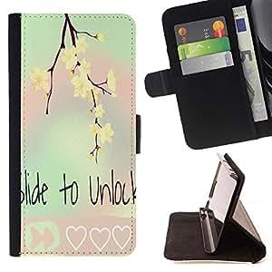- Slide to unlock - - Prima caja de la PU billetera de cuero con ranuras para tarjetas, efectivo Compartimiento desmontabl FOR Apple Iphone 6 Lady Case