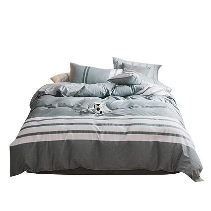 FenDie Striped Duvet Cover Set Reversible Modern Kids Teens Bedding Set  With 2 Pillowcases Cotton Stripes